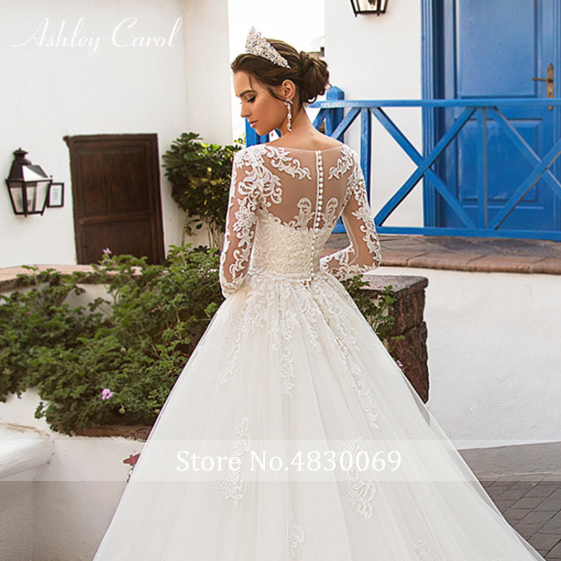 Image 5 - Ashley Carol Sexy Scoop With Jacket Long Sleeve Ball Gown Wedding Dresses 2019 Romantic Tulle Bride Dress Princess Wedding Gowns-in Wedding Dresses from Weddings & Events