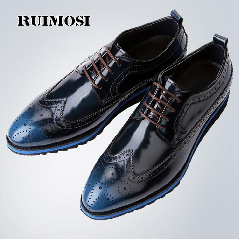 RUIMOSI Vintage Formal Brand Man Dress Shoes Male Patent Leather Brogue Oxfords Round Toe Men's Wing Tip Flat Platform CA39