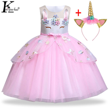 161425c140 Jednorożec sukienka na imprezę dla dzieci sukienki dla dziewczynek Elsa  kostium kopciuszek sukienka dzieci eleganckie dziewczyny