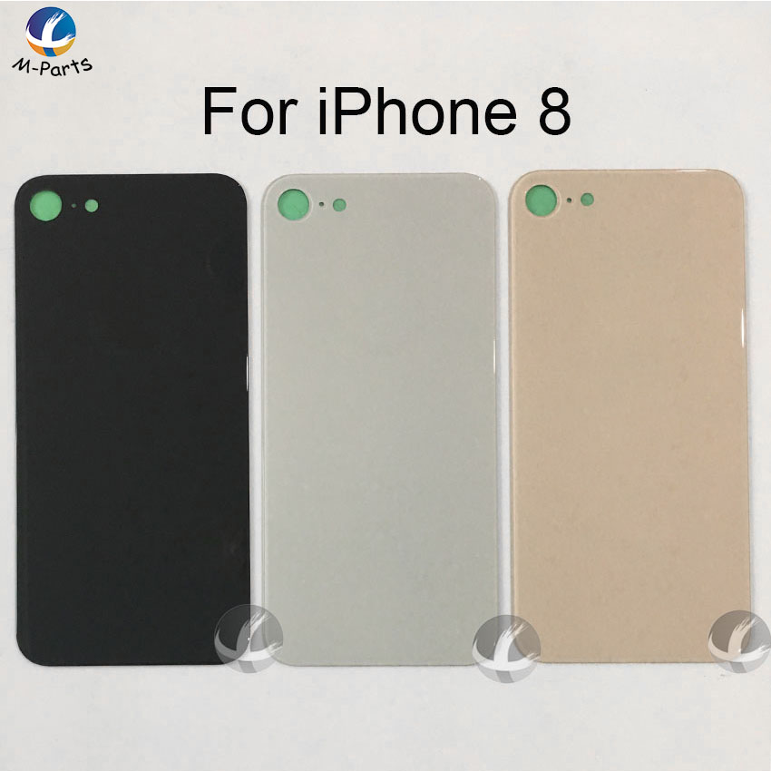 For Iphone 8 8 Plus X Back Glass Housing + Adhesive Rear Crystal Panel Plate Battery Cover Lid Shell + EU Europe Version + LOGO