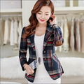 blazer feminino 2016 spring and autumn lattice women's blazers slim short design suit jacket plus size women clothing