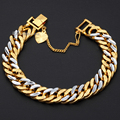 11mm Wide Fashion Womens Mens Chain Shiny Cut Hammered Double Curb Cuban Rombo Silver Gold Filled Bracelet Heart Charm DLGB192