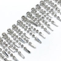 5Yards/lot Crystal Tassel Trim Silver Clear Rhinestone Cup Chain Trimming for Clothes Dress Bags Shoes Jewelry