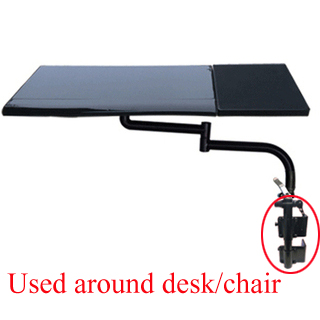 Keyboard Tray Holder Table Side Laptop Desk Notebook Stand Multifunctoinal Office Desk EdgeChair Leg Arm Clamping XL Mouse Pad