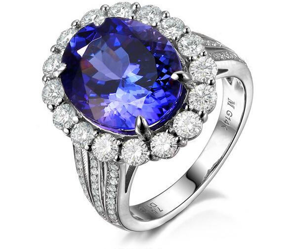 3 carat 925 sterling silver ring high-end sapphire tanzanite ring man made diamond weddi ...