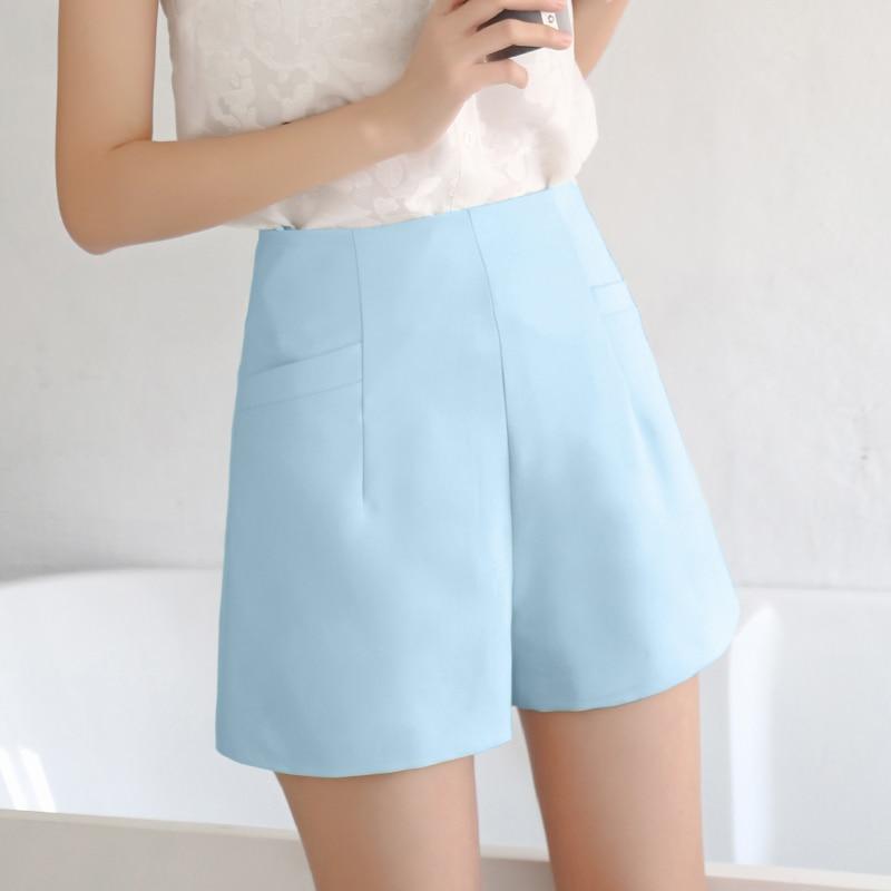 WKOUD Summer Shorts For Women High Waist Solid Chiffon Short Harem Bottoms Female Zip Up Waist Thin Shorts Trousers DK6040
