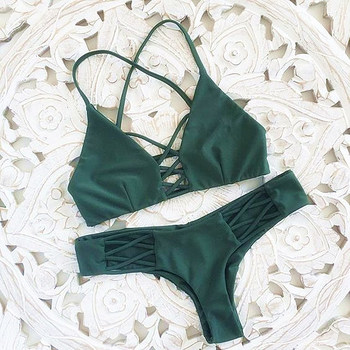 P&j 2017 Women Bandage Thong Brazilian Bikinis Swimwear Female Sexy Green Bandeau Push up Swimsuit Bikini Set Beachwear Biquini