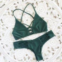 30f1f62eb959 P & j 2017 Mulheres Bandage Thong Biquinis Brasileiros Swimwear Sexy  Feminino Verde Bandeau Push up Swimsuit Bikini Set Beachwea.