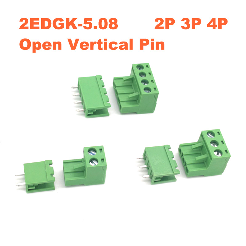 50pcs 2EDG 5.08mm Pitch 2Pin Plug-in Screw Terminal Block Connector Right Angle