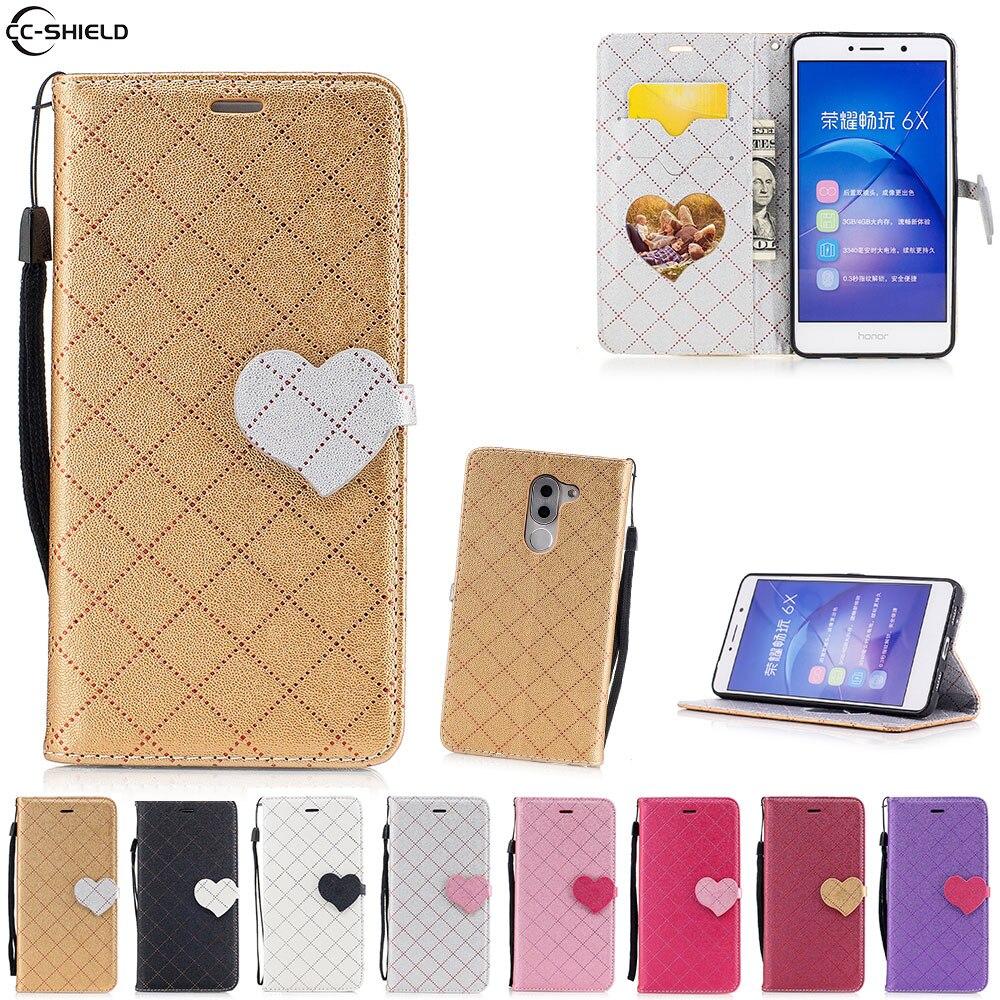 Flip Cas Pour Huawei Honor 6X6 X Honor6X Cas Mobile Téléphone Couverture en cuir BLN-L21 BLN-TL10 MILLIARDS L21 TL10 L24 L22 sac de silicium tpu