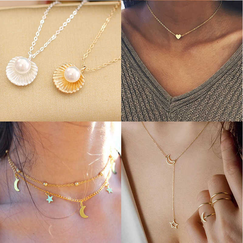 2019 new fashion multi-layer heart-shaped ladies pendant necklace shell necklace student children jewelry necklace