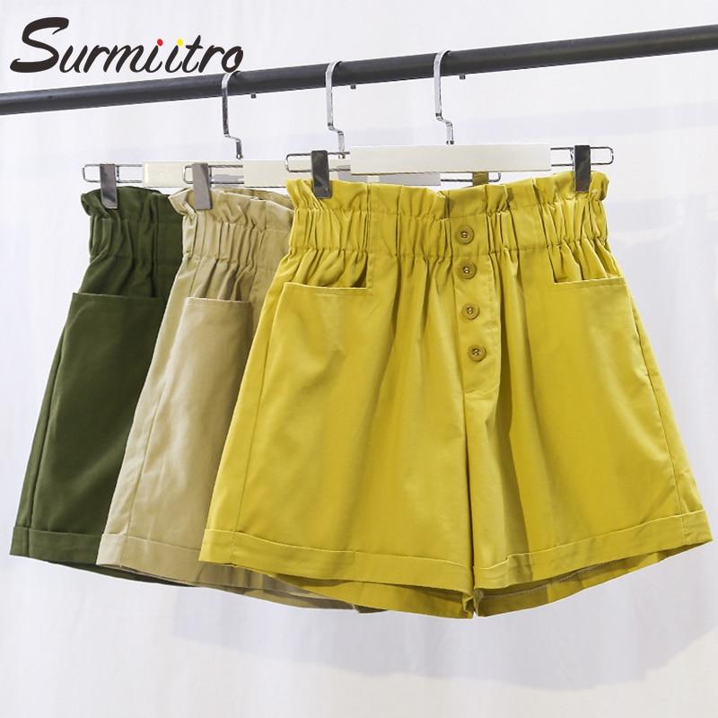 Surmiitro Cotton Korean Summer Shorts Women 2020 Fashion Ladies Casual Button Pocket High Waist Wide Leg Shorts Female