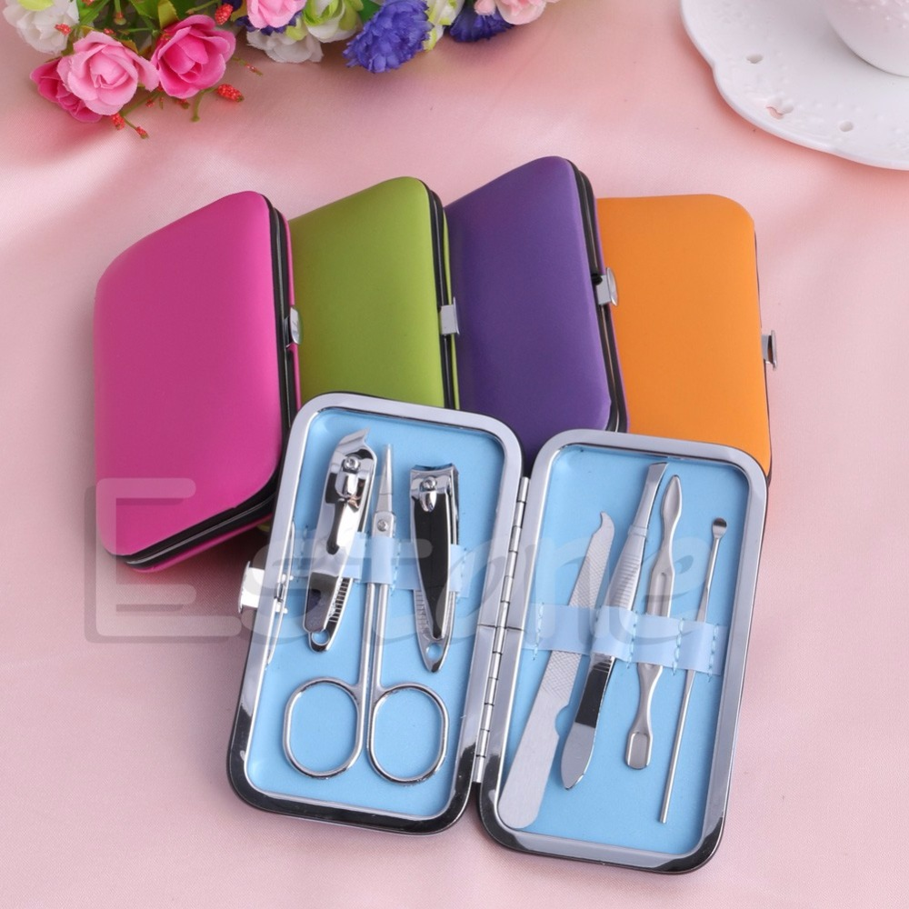 7pcs Portable Manicure Set Nail Care Clippers Scissors Travel Grooming Kits Case Blue, Green, Hot Pink, Orange, Purple