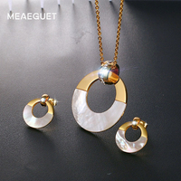 Meaeguet Luxury Women Jewelry Sets Stainless Steel Round Shell Gold Plated CZ Pendant Necklaces Earrings Fashion