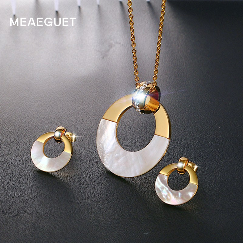 Meaeguet Crystal Women Stainless Steel Jewelry Sets