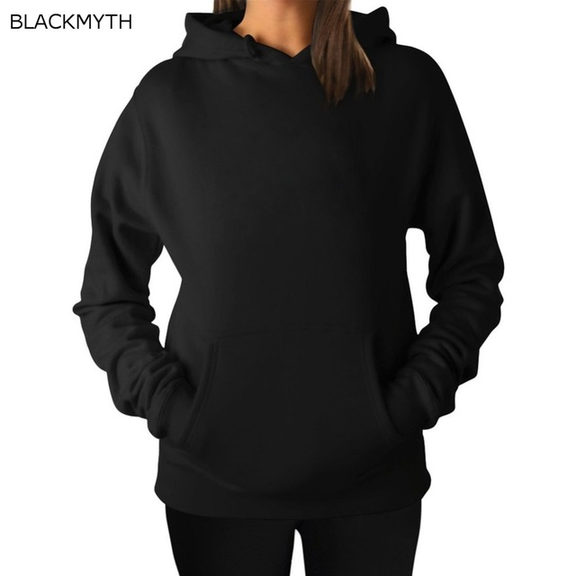 BLACKMYTH Fashion Black Hoody Crewneck Blank Hoodies Sweatshirt ...