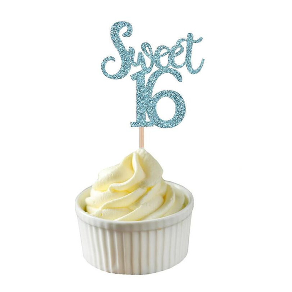 Image 4 - 10pc Gold & Silver & Blue Sweet 16 Cake Topper Letter Cupcake Toppers 16th Happy Birthday Party Cake Decoration Christmas 2019,Q-in Party DIY Decorations from Home & Garden