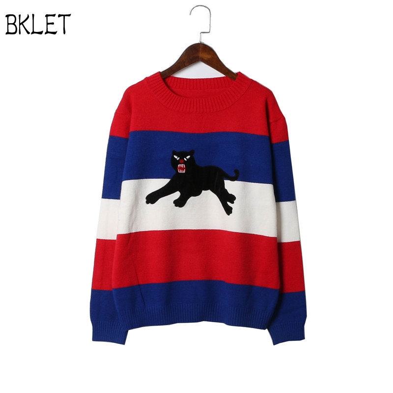 New Winter Pullover Sweater Women 2017 Color Block Stripe Panthers Pattern Design Knit Sweater Casual Loose Jumper Pull Femme