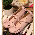Japanese Sweet Style Girls Lolita Shoes Bowtie Medium Heel Mary Jane Shoes