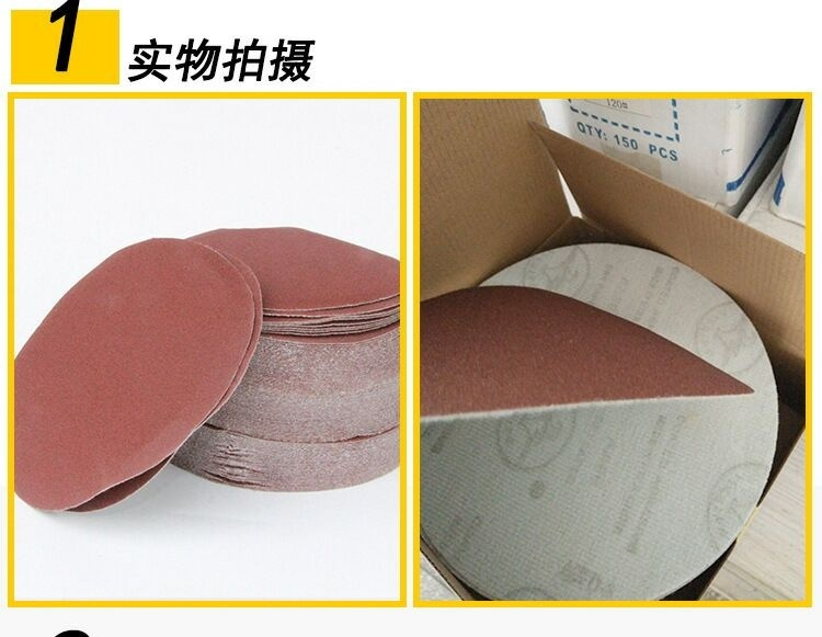 Купить с кэшбэком 50pcs/set 6 inch Round sandpaper Disk Sand Sheets Grit 60/120/150/180/240/320 Hook & Loop Sanding Disc for Sa'der Grits