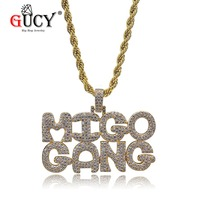 GUCY Iced Out MIGO GANG Letters Combination Pendant Necklace Gold Color Bling Cubic Zircon Tennis Chain Men's Hip Hop Jewelry