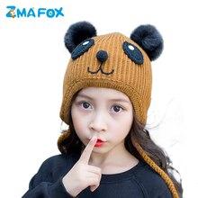 ZMAFOX baby boys girls winter hats quality thick panda beanies caps soft fur pom poms children kids knitting beanie hat plaits