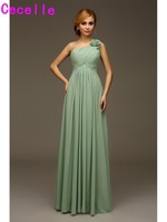 One Shoulder Formal Long Chiffon Beach Bridesmaids Dresses With Straps Wedding Party Dresses Country Western Bridesmaid Robes