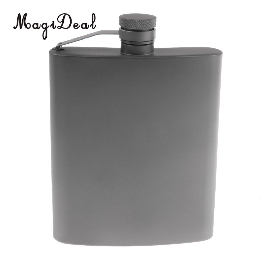 MagiDeal Titanium Hip Flask Pocket Liquor Bottle for Outdoor Camping Hiking Backpacking 8oz hip flask with folding cup
