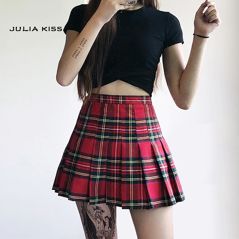 Women Preppy Style Check Pleated Skirts With Safety Shorts Plaid Mini Skirts High Waist Pleated Skirt