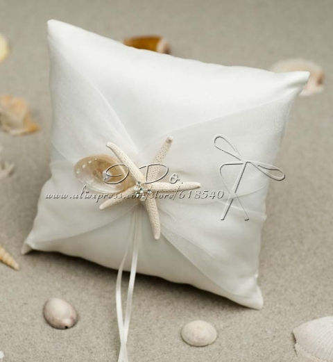 Free Shipping Ivory Starfish Wedding Ring Pillow Beach Themed Pillows  Wedding Supplies Wedding Accessories Decoration