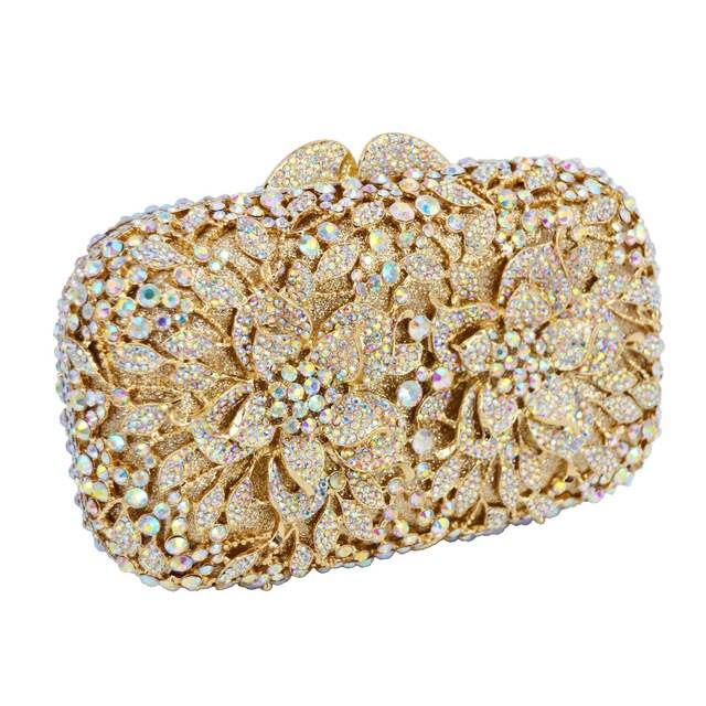 6739f98ddd US $54.94 50% OFF|AB Gold Luxury Crystal Diamond Evening Clutch Bag bridal  Wedding Sparkly Rhinestone Cocktail banquet Bag pochette Purse SC437-in ...