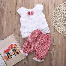 New Toddler Baby Kids Girls Outfit Clothes Bow Tie Layered Shirt Tops+ Red Plaid Bloomers Short Pants Trousers 2PCS 1-4Y 2019 недорого