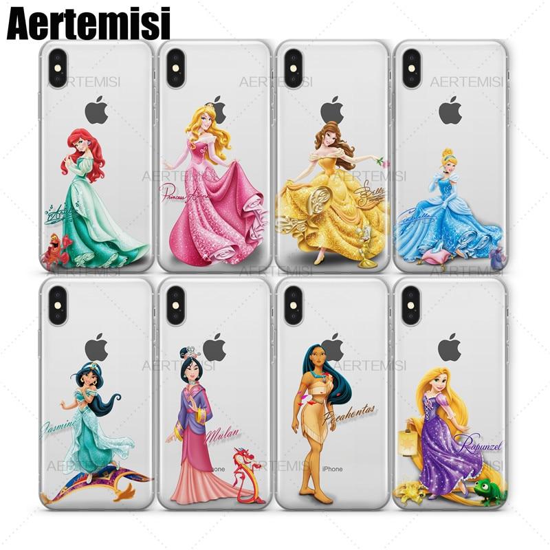Aertemisi Phone Cases Ariel Aurora Belle Cinderella Jasmine Mulan Clear TPU Case Cover For