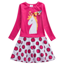 2019 Baby Girls Dress Children Princess Dot Unicorn Dress Vestidos Casual Kids Clothing Autumn Long Sleeve Girls Dresses Clothes