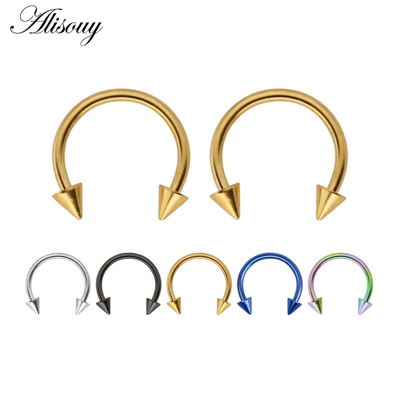 1pc Colorful Stainless Steel Horseshoe Spike Nose Septum Rings