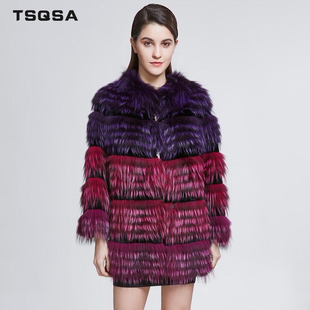 TSQSA femmes réel renard fourrure manteaux dame naturel argent renard avec Rex lapin fourrure manteau femelle populaire vêtements d'extérieur TAC1821