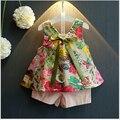 Menina roupa do bebê 2016 Verão Nova Princesa Das Meninas fina floral blusa sem mangas e calções de duas peças terno menina conjuntos