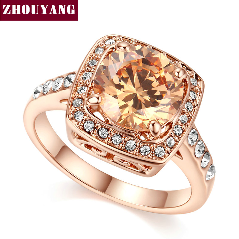 Top Quality ZYR057 Yellow Crystal Rose Gold Color Ring Jewelry  Crystals From Austria Full Sizes Wholesale