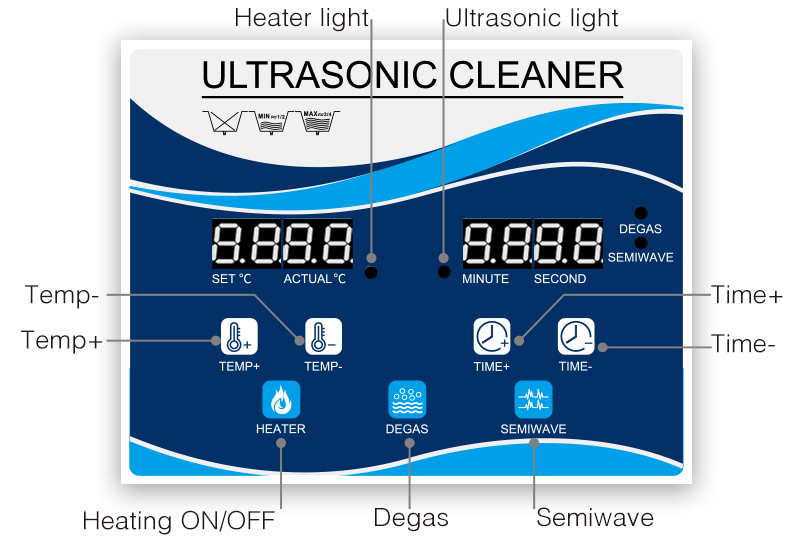 Multi-Function Ultrasonic Cleaner Machine With Large Digital Timer and Temperature Display 8