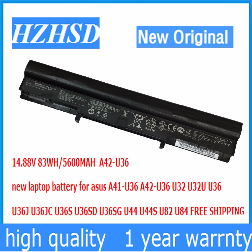 14.88V 83WH 5600MAH new A42-U36 laptop battery for asus A41-U36 U32 U32U U36 U36J U36JC U36S U36SD U36SG U44 U44S U82 U84 original for asus u36 u36s u44s u36sg u36sd u36j u36jc hard disk interface card hdd small board tested well free shipping