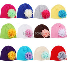 2015 NEW Baby Accessories Chiffon Flower Baby Hat Newborn Girl Cotton Beanie Infant Spring Hat 12 Colors 3-12 months