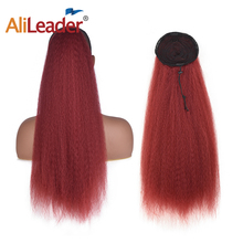 AliLeader 7 Colors Long Natural Hair Clip In Ponytail Hairpiece Puff Afro Yaki Straight Hair Ponytail Black Woman Afro Hair