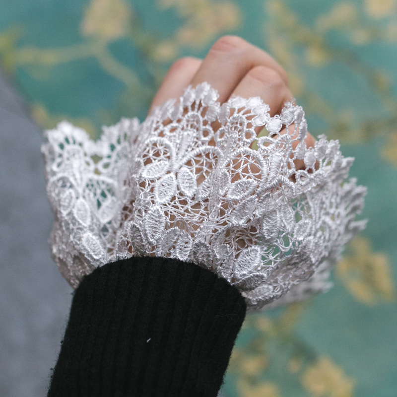 Fashion Women Gloves Lady Accessories Apparel Original Universal Pleated Court Wind False Cuff Sleeve Shirt Lace Fake Sleeve