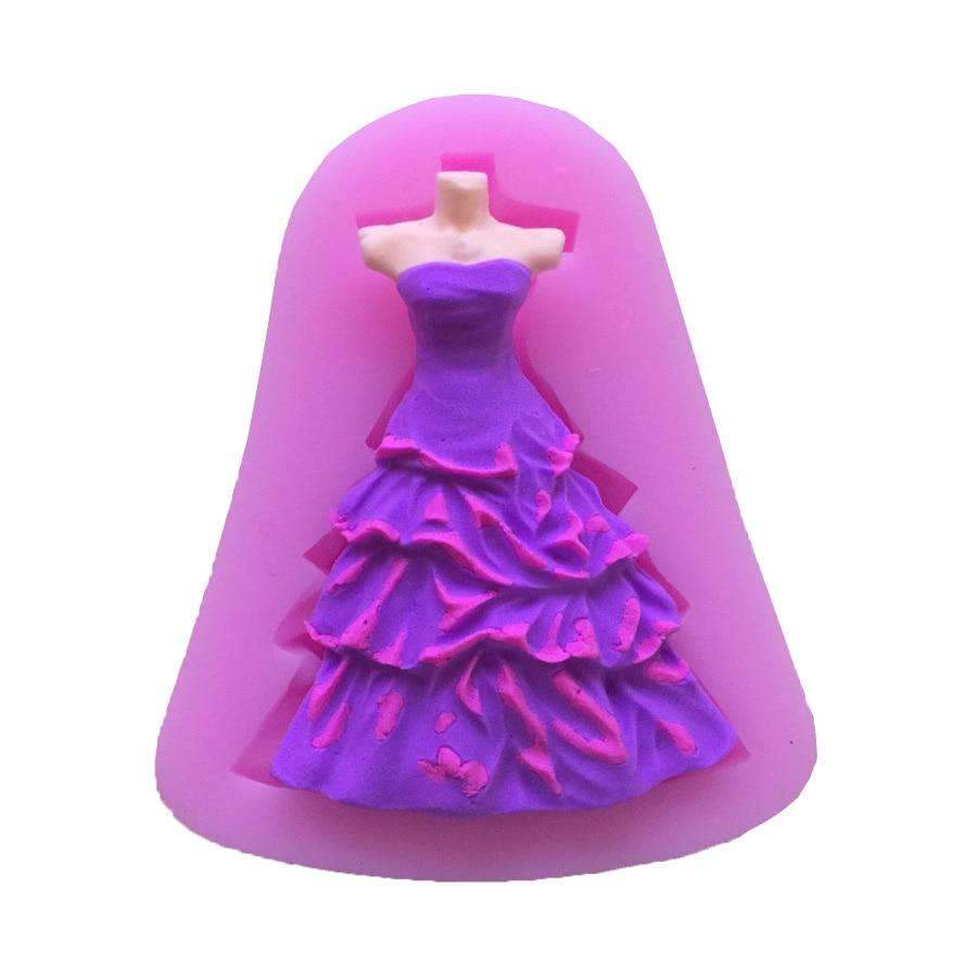 Fondant Cake Silicone Molds : Aliexpress.com : Buy 1PCS Beautiful Dress Shape Silicone ...