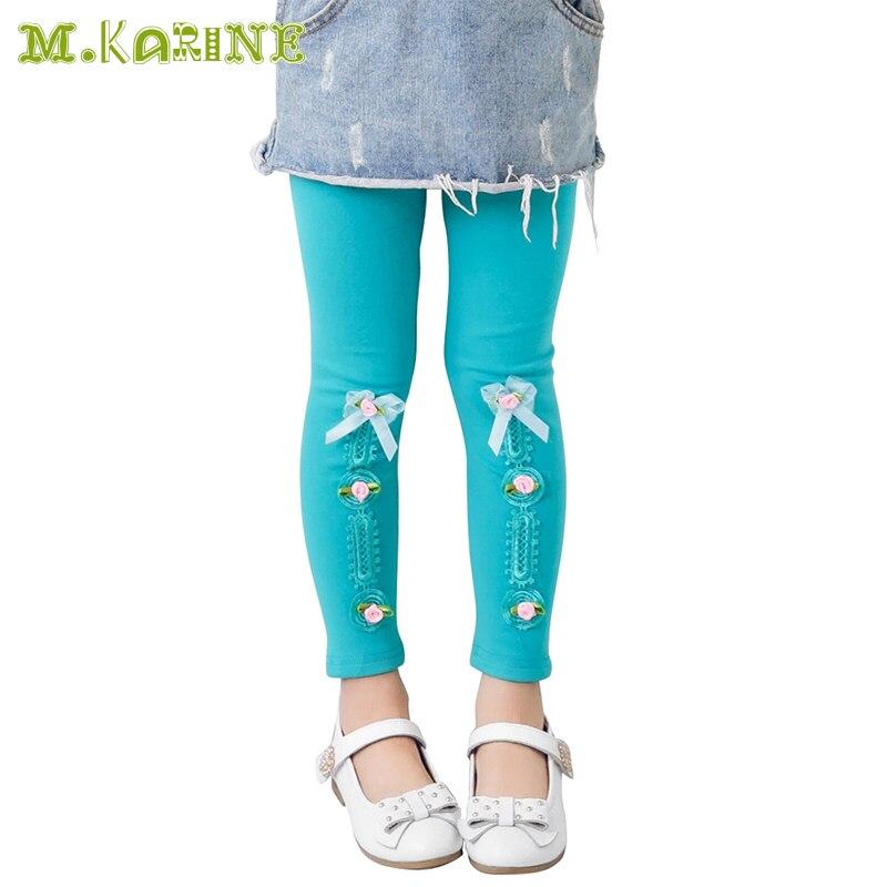 Hot Selling 2017 Spring Flower Girls Leggings Toddler Kids Pants Fashion Bow Stripes Pantalon Children Clothing Elastic Legging