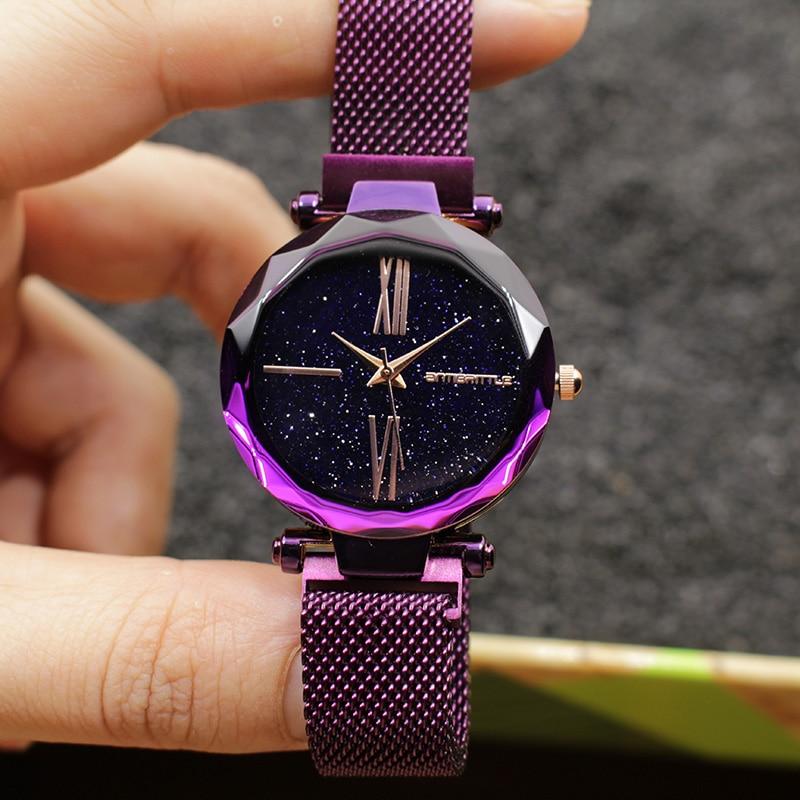 купить Luxury Star Sky Dial Purple Women Watch Japan Quartz Cutting Glass Rose Gold Black Mesh Stainless Steel Magnet Wristwatches 2019 по цене 1350.43 рублей