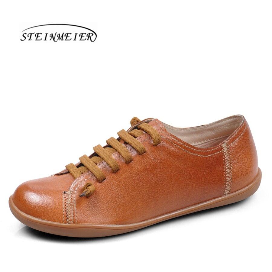 Chaussures d'été femme baleriny sans lacet femme chaussures plates printemps femme cuir décontracté groupe pieds nus chaussures sneakers - 4