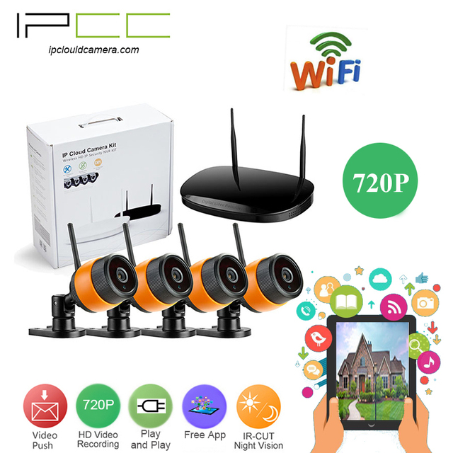 ff1dc22462b IPCC 4-Channel 720p Video Security System wifi NVR kit CCTV Monitor System  Complete Surveillance Network Camera System ip camera