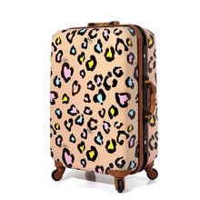 New Women Suitcase Aluminum Frame Multicolour Leopard Print Rolling Luggage ABS PC Universal Wheels Trolley Luggage