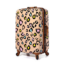 New Women Suitcase Aluminum Frame Multicolour Leopard Print Rolling Luggage ABS+PC Universal Wheels Trolley Luggage Travel Bags